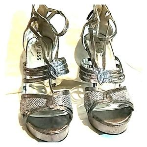 Guess Silver colored high heels with Zipper back